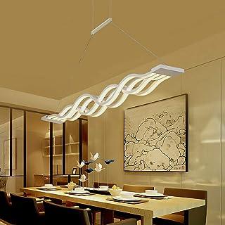 Iglobalbuy Lámpara de comedor LED Altura de onda ajustable Lámpara de techo Lámpara colgante decorativa Sala de estar Lámpara de oficina