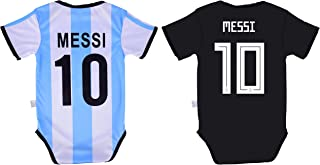 Lionel Messi #10 Argentina Soccer Jersey Baby Infant and Toddler Onesie Romper Premium Quality - Home and Away Pack of 2