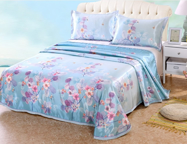 Folding Ice Silk Mat Skin-Friendly Breathable Sheet-Style Mat Kit Spring-Summer New Ice Mat ZXCV (color   1)