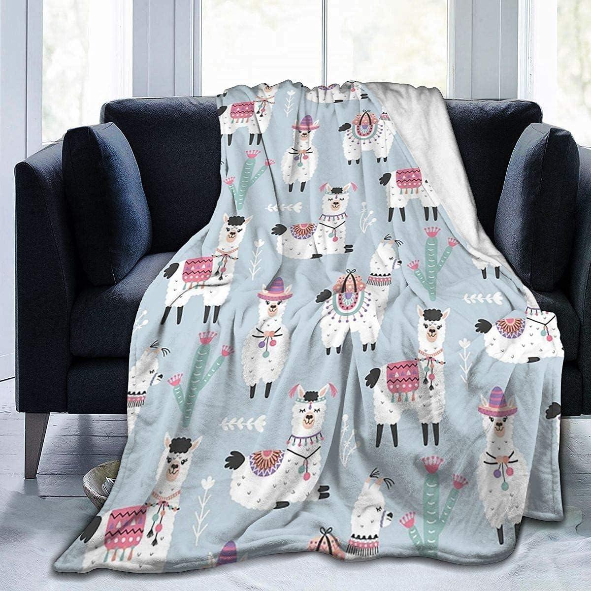 Cartoon Llama Bombing free shipping Alpaca Phoenix Mall Soft Throw Blanket Fla Lightweight 40