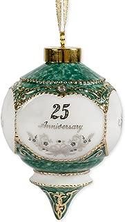 Happy 25th Wedding Anniversary Jewel Victorian 4.5 Inch Ball Hanging Ornament