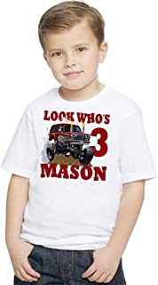 Birthday T Shirt Personalized with Name and Age Monster Truck Red Mud Riding Tee Custom