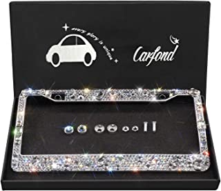 Carfond Luxury Handcrafted 14 Facets SS20 Premium Glass Crystal Diamond Stainless Steel License Plate Frame Bonus Matching Screws Caps (Luxury Crystal)
