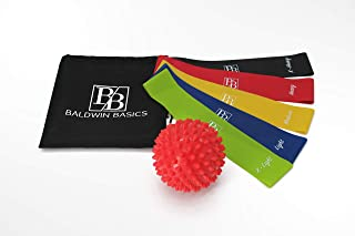 Baldwin Basics Resistance Loop Exercise Bands Set - Includes Muscle Roller Ball - Set of 5 Different Premium Quality Resistance Bands, 1 Muscle Roller Ball, 1 Carry Bag.