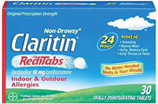 Claritin RediTabs 24 Hour Allergy Medicine, Non-Drowsy Prescription Strength Allergy Relief, Loratadine Antihistamine Tabl...