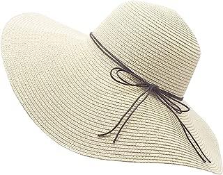 Womens Floppy Straw Hat Wide Brim Foldable Beach Cap Sun Hat for Women UPF 50+