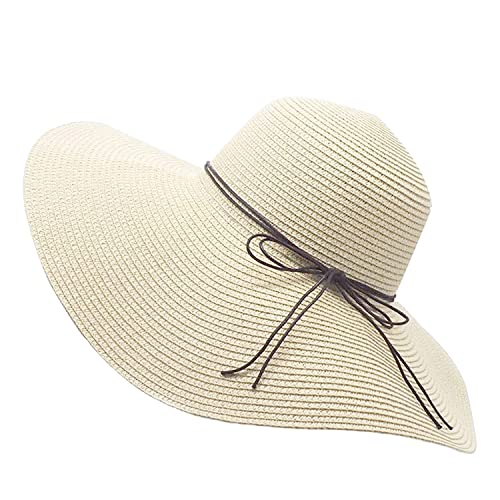 566099f0f6a Floppy Straw Hat Large Brim Sun Hat Women Summer Beach Cap Big Foldable  Fedora Hats for