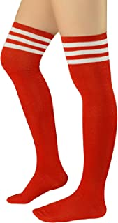 Zando Women Over Knee Stockings Thigh High Socks Football Socks Thin Striped Casual Long Socks Athlete Socks Cosplay Kawaii Christmas Costume Socks 1 Pair Red White