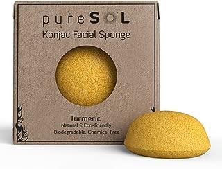 pureSOL Konjac Sponge - Turmeric - Facial Sponge, 100% Natural Sponge, Eco-friendly - Gentle Exfoliation, Deep Cleansing, Improved Skin Texture