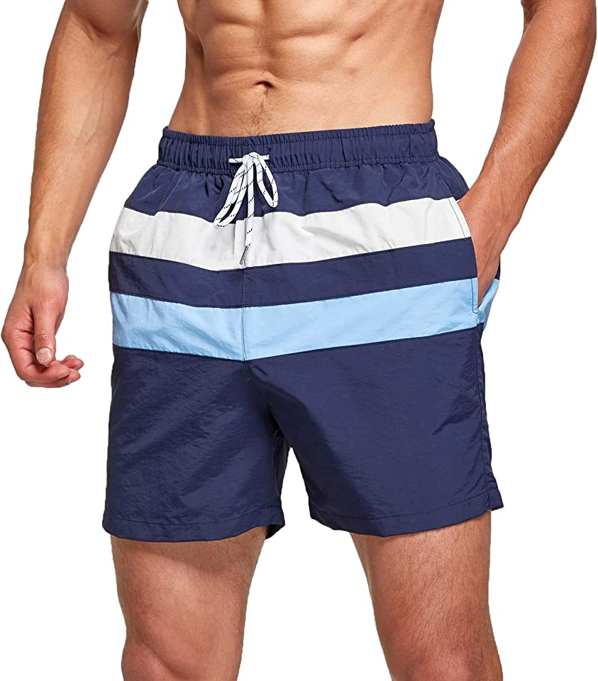 Badeshorts Herren Badehose Swim Shorts mit Mesh Schnelltrocknend Boardshorts