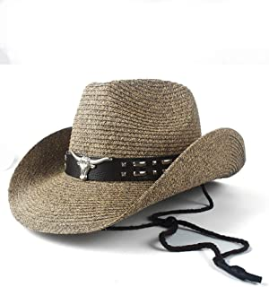 JIALANG Western Cowboy Hat Straw Hollow Beach Sombrero Hombre Straw Panama Cowgirl Jazz Sun Cap Size 56-58CM (Color : Coffee, Size : 56-58)