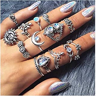Yokawe Boho Silver Crystal Finger Rings Vintage Carved Flower Stacking Midi Rings Gem Joint Knuckle Ring Set with Cresent ...