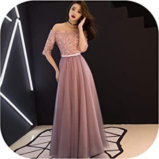 see something Sexy Chinese Oriental Pink Wedding Female Noble Cheongsam Off Shoulder Evening Dress