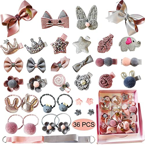 Hair Accessory With Princess Jewelry Necklace Girls Pin Headdress Bracelet Ring For Baby Girls 36 pcs multi colour