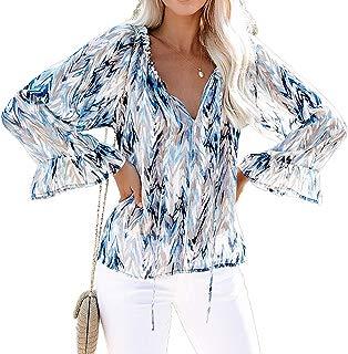 Women Ruffle Long Sleeve Blouses Floral Stripe V Neck Loose Fit Boho Tops