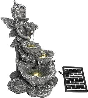 OGL Fairy 4-Tier Solar Water Fountain Garden Features Indoor Outdoor Bird Bath with Led Light