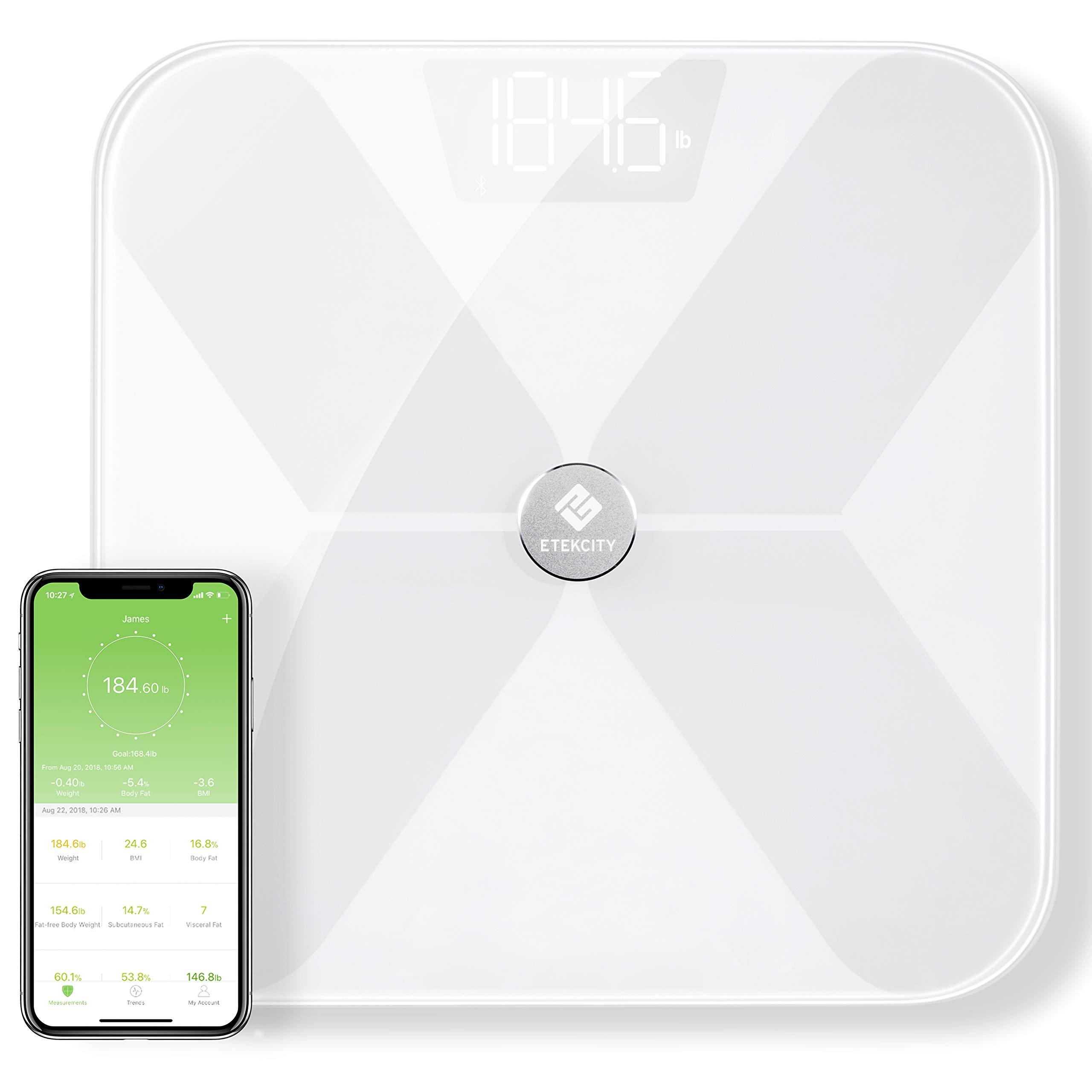 etekcity 蓝牙身体脂肪称–FDA approved-smart BMI 数码浴室重量秤身体 composition 监视器与智能手机健身 APP 181.4kilogram