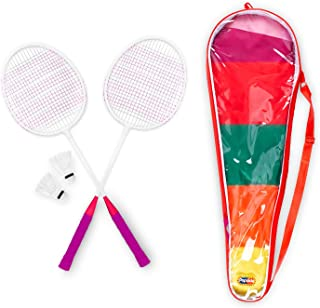 MVMT Popsicle Badminton Set - 2 Rackets, 3 Shuttles, Carrying Case - Colorful, Fun Lawn Games - Family, Beginner, Starter