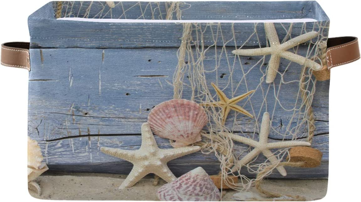 Toprint Summer Wooden Beach Quality inspection Seashell Bin Storage Basket Fixed price for sale Starfish