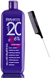 Salerm Cosmetics ALOE VERA Developer Cream Oxidant (w/Sleek Comb) Hydrogen Peroxide Activator for Vision Hair Color Salerm...