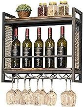 Moderne metalen wijnrek Opslag Wijnhouder Wijnopslagplank - Wandgemonteerde wijnrekken en wijnglasrekken-L80 * D20 * H55cm