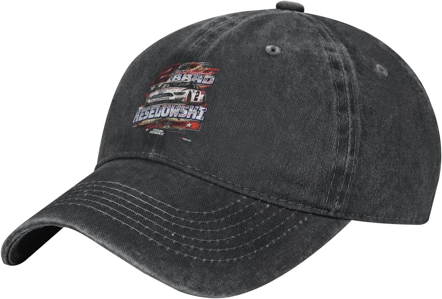 GAiNViEW Brad Keselowski Denim Cap Adjustable Plain Baseball Cowboy Hat Cotton Sunbonnet Plain Hat Black