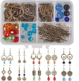 SUNNYCLUE 1 Box DIY 10 Pairs Chandelier Earrings Making Starter Kit Jewerlry Making Crafts Charm Pendants, Glass Beads, Chandelier Components Link, Earring Hooks and Jewelry Findings, Antique Bronze