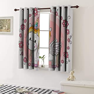 1GShophome Room Darkening Curtains Cute Cartoon Unicorn with Flowers on a Pink Background Grommet Kid Blackout Curtains (1 Pair, 31.5