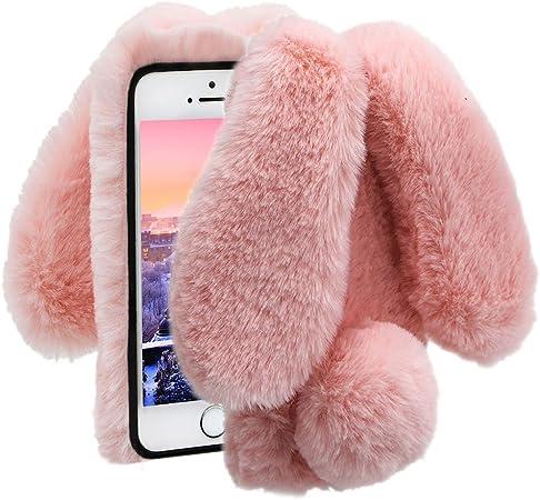 Herzzer Fourrure Rose Paillette Coque pour iPhone 7, iPhone 8 Hiver Chaud Soft Etui Handmade Fluffy Villi avec Oreille de Lapin DesignLuxe Bling ...