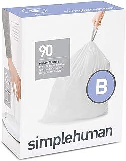 simplehuman CW0251 code B Custom Fit Bin Liner Bulk Pack, White Plastic (3 Pack of 30, Total 90 Liners)
