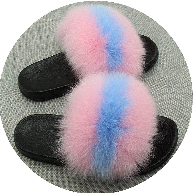 Maggilee Real Fur Slippers Furry Summer Beach Slipper New Women Real Raccoon Fur Monster Slipper JSD,bluee (Black Base),7