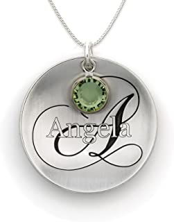 Domed Name Like No Other Personalized with Swarovski Birthstone Necklace. Sterling Silver Pendant Showcases a Name and Monogramm Initial. Includes a choice of 925 Chain. Unique, Trendy Gifts for Her