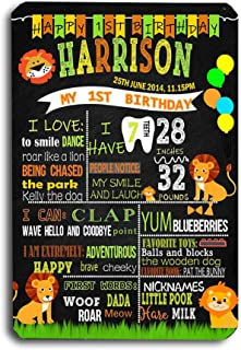 Art Studio Jungle Cartoon Lion Chalkboard Style Boy Birthday Record Reusable Easy Clean Decoration Sign Photo Props 8''x 12'' Metal Tin -Customizable with Liquid Chalk Markers