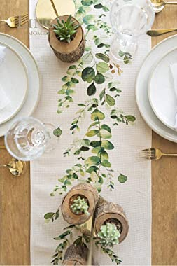 Ling's moment Greenery Table Runner 12 x 72 Inch for Thanksgiving Table Decor Christmas Decoration Fall Table Runner for