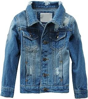 Kids Boys Girls Hooded Denim Jacket Zipper Coat Outerwear