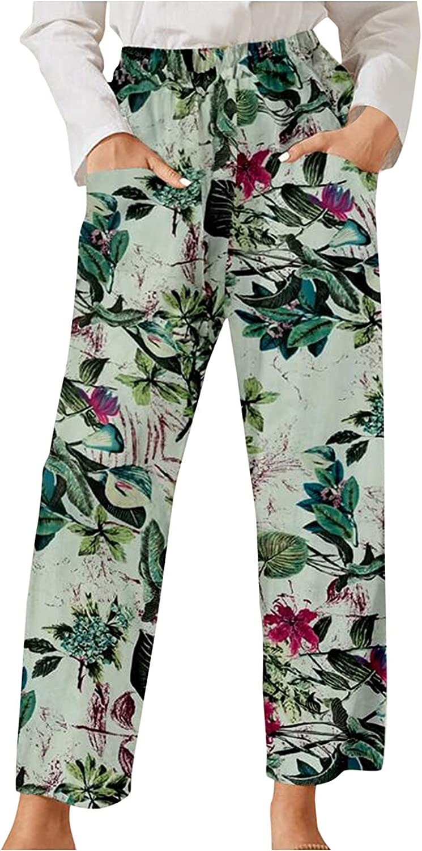MIVAMIYA Women Comfy Palazzo Lounge Pants Floral Print Wide Leg Cropped Capri Pants Elastic Waist Lounge Pajama with Pocket