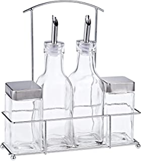 Harmony 2724623296265 83101 4 Pieces Salt Oil and Vinegar Bottle In Metal Rack Set, Clear