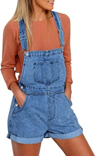 Vetinee Women's Classic Adjustable Straps Cuffed Hem Denim Bib Overalls Shorts
