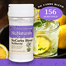 NuNaturals NoCarb Blend Powder All Purpose Natural Sweetener, Zero Calorie, Sugar-Free, 156 Servings, (2.75 oz)