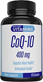 CoQ10 400mg Per Serving - 120 Capsules CoQ-10 - Vegetarian Capsule - Antioxidant Co Q-10 Coenzyme Supports a Healthy Heart...