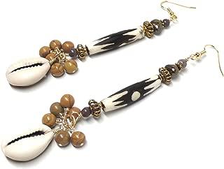 African Mud-Cloth Cowrie Shell Cluster Drop Long Dangle Brass Earrings Tiger Jasper