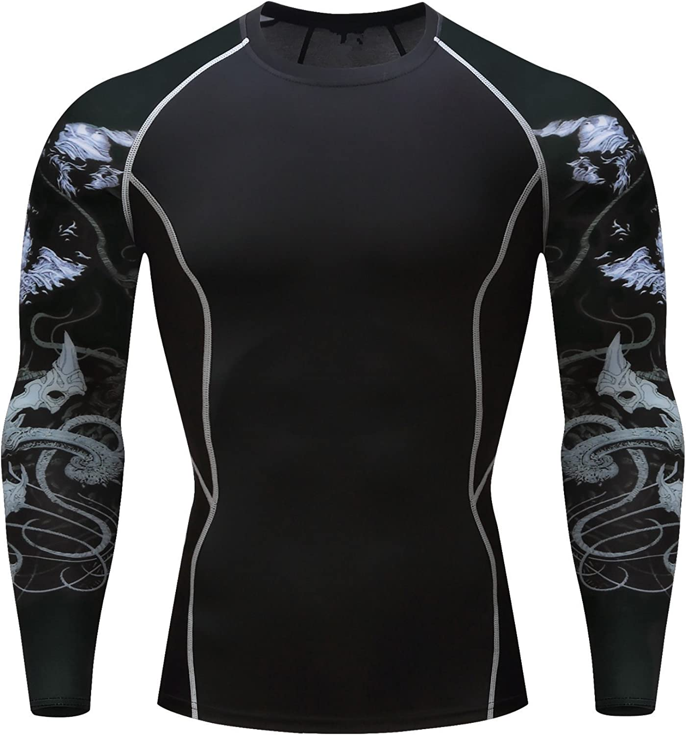 Fanii Quare Men's QuickDry Sports Tights Long Sleeve Compression Activewear TShirt