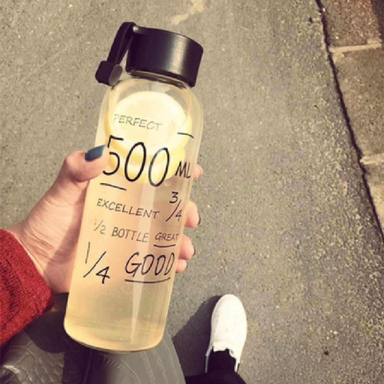Glass Female Student Cute Portable Korean Version of The Water Bottle Creative Korean Lemon Cup HeatResistant Fresh Hand Water Cup