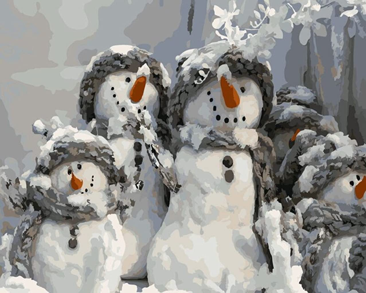YEESAM ART DIY Paint by Numbers for Adults Beginner Kids, Christmas Snowman Family 16x20 inch Linen Canvas Acrylic Stress Less Number Painting Gifts