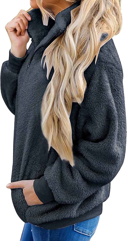 ZESICA Womens Autumn Winter Long Sleeve Zipper Sherpa Fleece Sweatshirt Pullover Jacket Coat