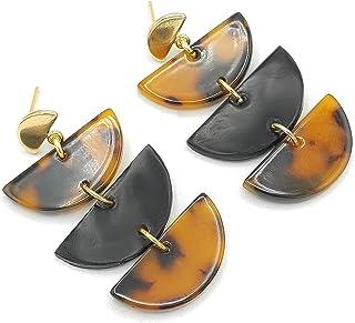 Boucles d'oreilles dorées tendances, demi-cercles à motif écaille de tortue et noirs, accroche plaqué or 18k, clou en acie...