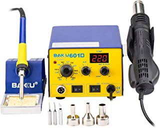 Digital Soldering Station Professional Solder Iron SMD Hot Air Gun Rework Station with Tips and Nozzles(BK-601D)