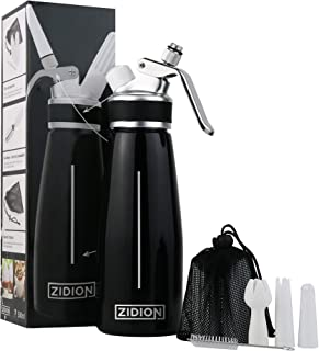 Zidion Whipped Cream Dispenser - Professional-Grade Aluminum Canister - Heavy-Duty Cream Whipper - 8g N2O Charger Holder (N2O Charger not included) - with three (3) Nozzles