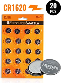EmazingLights CR1620 3V Lithium Battery (20 Pack) - CR 1620 Coin Cell Batteries