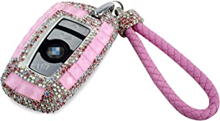 PGONE Luxury Bling Crystal Diamond Key Fob Case Cover Keychain for BMW 3/4 Buttons Keyless Entry Remote Control Smart Key Protective Shell Bag 1 3 4 5 6 7 Series X3 X4 M5 M6 GT3 GT5 (Pink)